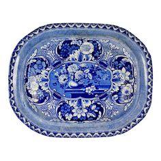 19th C. Davenport Staffordshire Transferware Platter, Vases & Medallions