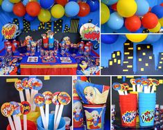 For SUPER cool party ideas and WONDERful prices, check out DC Superhero Girls party supplies at Birthday in a Box! Superhero Party Decorations, Girl Superhero Party, Cake Decorations, Wonder Woman Birthday, Wonder Woman Party, Comic Party, Villains Party, Ted, 6th Birthday Parties
