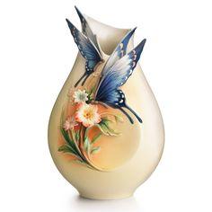 Fluttering Beauty flower and butterfly porcelain small vase design