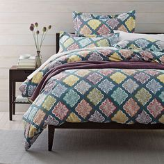 This brightly-colored duvet cover is a great way to infuse color and pattern into a space. Designed with traditional Moorish medallions.