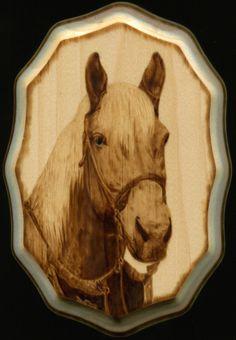 "Wood burning by Colleen Jess, 2013, 5x7"" Horse Portrait, SOLD greatjesspectations@gmail.com www.greatjesspectations.com"