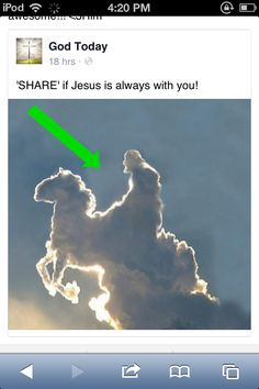 Share if Jesus is with you>> Jesus is with me but he looks a little hunched there<<<Jesus is with me, but look at that cloud? And people say miracles don't happen. Bible Verses Quotes, Jesus Quotes, Faith Quotes, Love The Lord, God Is Good, Gods Love, God Jesus, Jesus Christ, Christian Memes