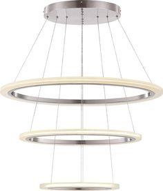 Hängeleuchte nickel matt, Acryl satiniert. Hängeleuchte nickel matt, Acryl satiniert. Hängeleuchte/ Kronleuchter nickel matt, Acryl satiniert. Moderne Design Leuchte, die sich frei interpretierend an der Form von Kronleuchtern orientiert. Diese Variante Trio ist die größte aus der Reihe Circle.
