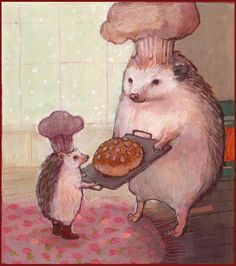 HEDGEHOGS baking BREAD by ~solangiana on deviantART