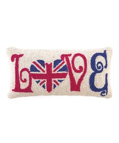 Take a look at this Red & Blue UK 'Love' Pillow by Peking Handicraft on #zulily today!