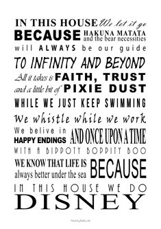 "Free printable poster ""In this house we do disney"" @MadebyNetha"
