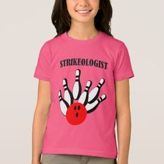 Bowling ball and pins with the word STRIKEOLOGIST T-Shirt  $32.90  by allsportsdesigns  - cyo customize personalize unique diy idea