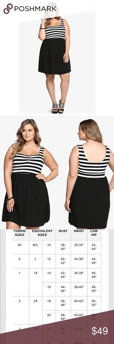 🆕Torrid Striped Black & White Skater Dress🎶 This contemporary dress has our full attention. The black and white striped bodice is the picture-perfect complement to the black skirt. It has a soft cotton top mixed with a free-flowing challis bottom. A slightly shirred sweetheart neckline finishes off this look with sexy detail.✔️Sold out on Web✔️Bundle & Save✔️ Reasonable offers Accepted✔️ Thanks!! torrid Dresses