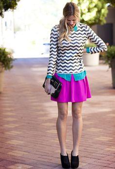 chevron blouse + neon pink skirt + teal blouse