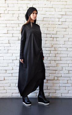 Black Kaftan, Black Tunic Dress, Black Long Sleeve Dress, Black Maxi, Plus Size Maxi Dresses, Nice Dresses, Dresses With Sleeves, Long Tunic Tops, Look Casual