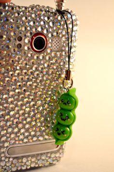 Kawaii Pea Pod - Polymer Clay Cell Phone Charm