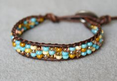 Turquoise Topaz Picasso Bohemian beaded leather