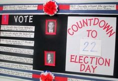 A bulletin board with the 2012 presidential candidates images