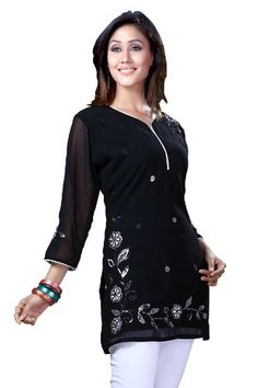 Indian Selections - Black Georgette 3/4 sleeves Kurti/Tunic with white thread embroidery - Medium - Brought to you by Avarsha.com