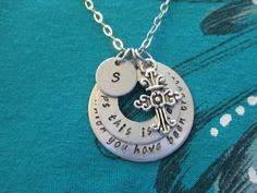 Esther 4:14 Perhaps this is the moment for which you have been created - hand stamped stacked washers - Personalized initial necklace by TheVerseWithin on Etsy