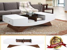Mid Century Modern Coffee Table Storage Drawers Walnut Living Room Furniture    #FurnitureofAmerica #Modern