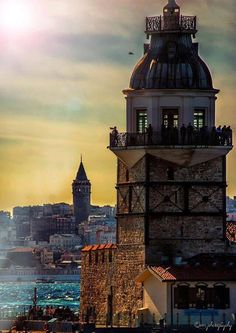 Two towers in Istanbul - Maiden tower and Galata