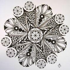 zentangle flowers | Having fun with zendalas! Actual size 8x8