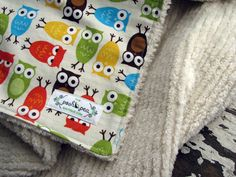 Baby Blanket - Urban Zoologie Owls Bermuda - You Choose Color of  Minky or Natural Chenille - Gender Neutral