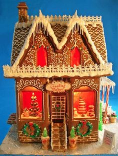 What kind of time do people even have?  This gingerbread house bakery is blowing my mind!!