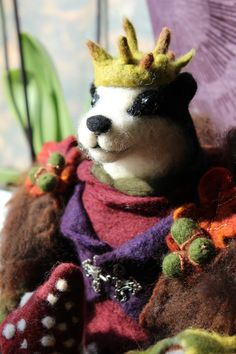 Needle Felted King Badger OOAK Art Doll by OkieFolky on Etsy