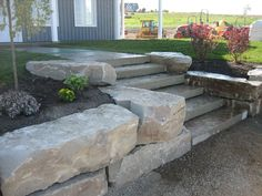 rock wall landscaping | armour stone wall with natural steps adding this retaining wall ...