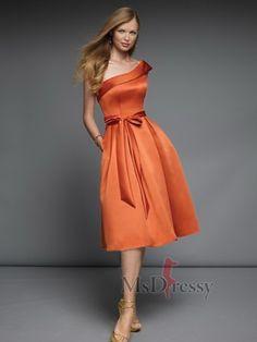 Available in @plus size &  32 colors. A-line Knee-length One Shoulder Satin @Bridesmaid Dress. @curvey @voluptuous