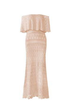 Vestido-Trico-Longo-Ombro-A-Ombro-Rose | Galeria Tricot - Galeria Tricot