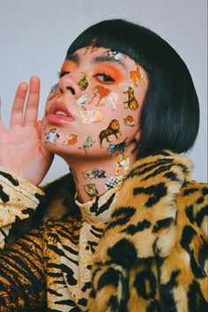 Aesthetic make up / stickers / animal print #photography #fashioneditorial #fashiondesign #outfitideas #bobhairstyle #colorblock #makeupideas #aestheticmakeup #animalprint Aesthetic Makeup, Bob Hairstyles, Editorial Fashion, Carnival, Stickers, Face, Photography, Fashion Design, Painting