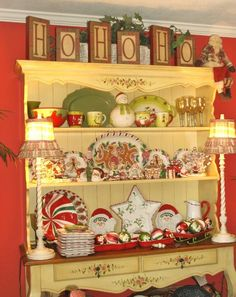My China Hutch with Christmas Dishes