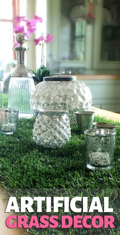 Cover the table with artificial grass as a fun garden-like tablecloth. With a little a bit of creativity you can create yourself a stunningly decorated table for any type of party you are throwing. Great Minds Discuss Ideas, Small Minds Discuss People, Grass Decor, Fake Grass, Creative Products, Artificial, Garden Theme, Backdrops For Parties, Grasses