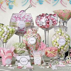 """I WANT MY CANDY BUFFET TO LOOK LIKE THIS"" I get this a lot, someone sees this cute professional photo of a ""candy buffet"" not realizing its all chocolate and bubblegum. This is not a buffet for guests its a buffet for a photoshoot. Bubblegum is pretty, especially the shimmer ones but its hardly a dessert... and you don't need two of them."