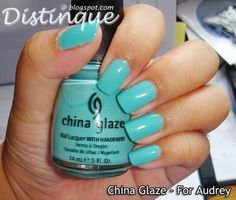 The nail polish that is drying on my nails as I type this :) LOVE IT!! For Audrey by China Glaze