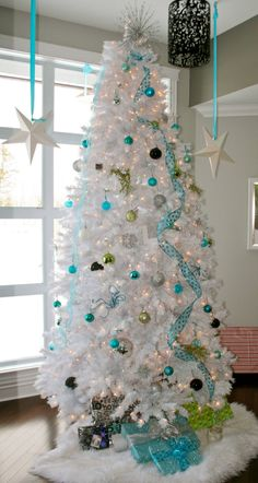 White Christmas Tree with Turquoise More