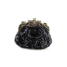 Vintage Beaded Velvet Decorative Purses Victorian Opera Purse (80 BRL) ❤ liked on Polyvore featuring bags, handbags, clutches, purses, accessories, black, velvet handbags, vintage handbags purses, beaded clutches and handbag purse