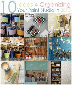 Paint, stencil, and craft studio organizing ideas from Royal Design Studio Stencils http://www.royaldesignstudio.com/blogs/stencil-ideas/7130128-10-ideas-for-organizing-your-paint-studio
