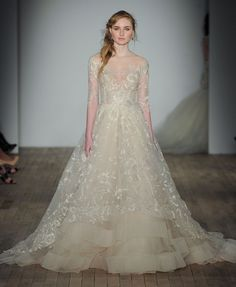 Lazaro Fall 2017 | Style 3758 || Platinum candlelight floral embroidered tulle bridal ball gown, sheer tip of the shoulder neckline, 3/4 length fitted sleeve, natural waist accented with jeweled handmade flower, embroidered net over horsehair trimmed tulle skirt, chapel train.
