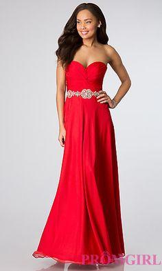 Elegant Strapless Floor Length Prom Dress at PromGirl.com Marine Ball Gowns d21fe8ffc8e3