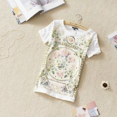 White Short Sleeve Floral Cotton T-Shirt
