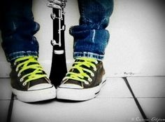 Converse and my Clarinet by ~CassieStarFox but with a bass Senior Boy Photography, Graduation Photography, Photography Pics, Band Senior Pictures, Senior Photos Girls, Senior Pics, Senior Year, Picture Poses, Picture Ideas