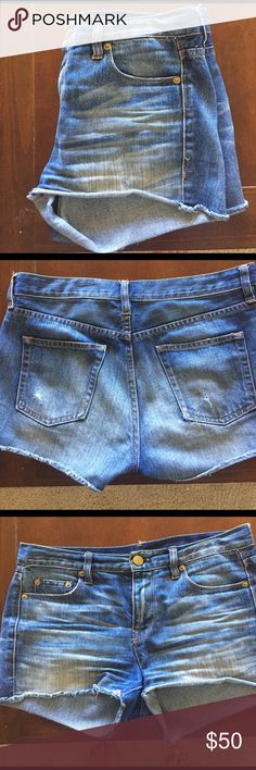 "J.Crew Denim Cutoffs Intentionally distressed J.Crew denim cutoffs. Waist is about 16"" across and the inseam is about 2.5"". Reasonable offers through the offer feature only please! J. Crew Shorts Jean Shorts"