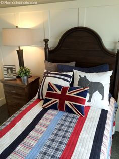 Boys Bedroom, I'd add an Americana pillow too! Love both red white and blues!