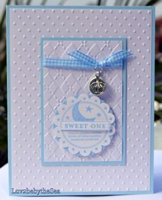 Handmade Stampin Up Sweet One Card for Baby Boy w Footprint Charm | eBay
