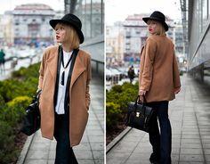 Sheinside Camel Coat, Goldsign Bootcut Jeans, Endless Rose Vest