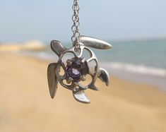 Spinel Purple Turtle Pendent and Chain - Ocean Jewellery by Sophie Jade Jewellery