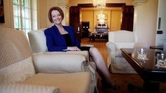 Julia Gillard sits in the drawing room.
