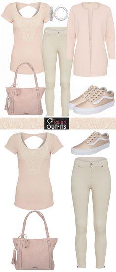 Schönes Frühlingsoutfit aus rosa Oberteil, beige Hose und rosa Vans... #fashion #fashionista #mode #damenmode #frauenmode #outfit #damenoutfit #frauenoutfit #komplettesoutfit #trend #trend2018 #modetrend #inspiration #frühling