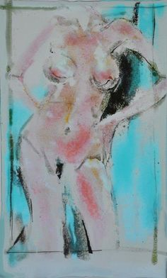 """Back View of Figure in Turquoise and Salmon  10""""x15"""". Fused glass. Drawing using various forms of glass. Viewable from either side. Photo 2 of 2.  Sold. ©Linda Humphrey / KilnForms."""