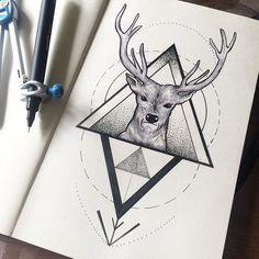 Oh my deer // #inktober 11 #design #deer #tattoo #deertattoo #tattoos #tattooart #tattooartist #art #artwork #lineart #line #lines #linework #dot #dotwork #sketch #sketchbook #moleskine #illustration #ink #inked #draw #drawing #geometrictattoo #geometric #black #blackwork #blacktattoo #iblackwork