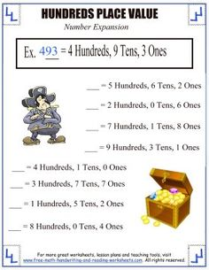 Learn about the hundreds place with these printable place value activities and worksheets. Find more math lessons and printables. Place Value Worksheets, Place Value Activities, Reading Worksheets, Place Value With Decimals, Pirate Activities, 4th Grade Math, Free Math, Place Values, Math Lessons